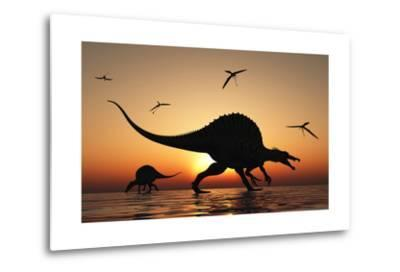 A Pair of Spinosaurus Hunting for Fish