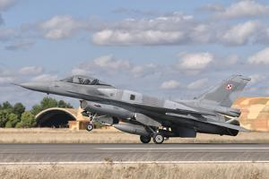 A Polish Air Force F-16 Block 52+ at Albacete Air Base, Spain by Stocktrek Images