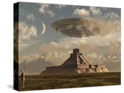 A Reptoid Greets an Incoming Flying Saucer Above a Pyramid.