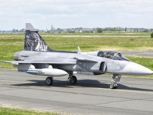 A Saab JAS-39 Gripen of the Czech Air Force on the Flight Line at Cambrai Air Base, France by Stocktrek Images