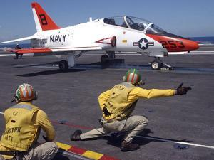 A Shooter Signlas the Launch of a T-45A Goshawk Trainer Aircraft by Stocktrek Images