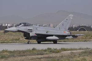 A Spanish Air Force Eurofighter Typhoon 2000 at Konya Air Base, Turkey by Stocktrek Images