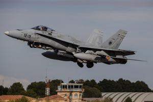 A Spanish Air Force F-18M Hornet Taking Off from Albacete Air Base, Spain by Stocktrek Images