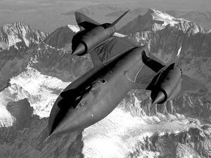 A Sr-71B Blackbird Flying across the Sierra Nevada Mountains by Stocktrek Images