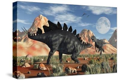 A Stegosaurus Defending Itself from an Attacking Allosaurus