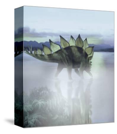 A Stegosaurus Dinosaur Grazing in a Prehistoric Lake