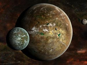 A System of Extraterrestrial Planets and their Moons by Stocktrek Images
