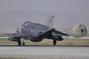 A Turkish Air Force F-4E 2020 Terminator Deploys its Drag Chute Upon Landing by Stocktrek Images