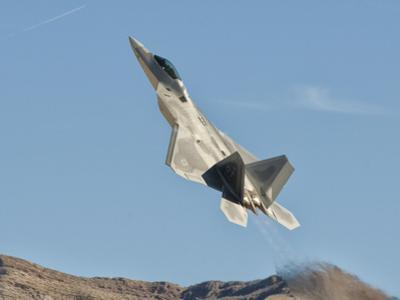 A U.S. Air Force F-22 Raptor Takes Off from Nellis Air Force Base, Nevada by Stocktrek Images