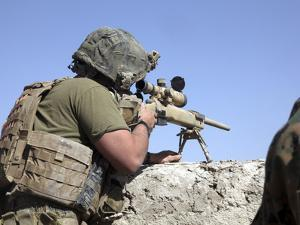 A U.S. Marine Looks Through the Scope of an M40A1 Sniper Rifle by Stocktrek Images