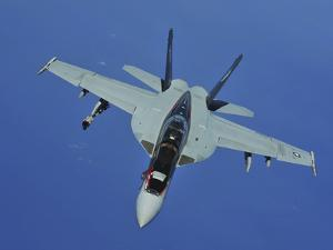 A U.S. Navy F/A-18F Super Hornet in Flight Near Joint Base Pearl Harbor-Hickam, Hawaii by Stocktrek Images