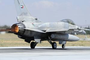 A United Arab Emirates Air Force F-16E Block 60 Taking Off by Stocktrek Images