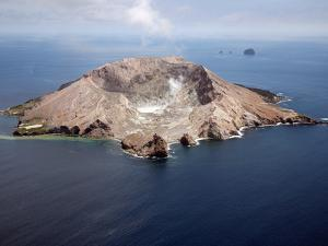 Aerial View of White Island Volcano with Central Acidic Crater Lake, Bay of Plenty, New Zealand by Stocktrek Images