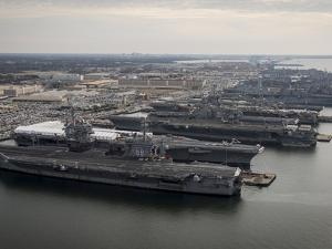 Aircraft Carriers in Port at Naval Station Norfolk, Virginia by Stocktrek Images
