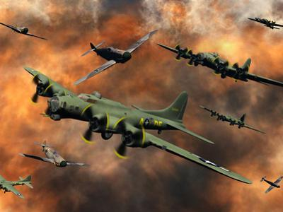 American and German Aircraft Battle it Out in the Skies During WWII by Stocktrek Images