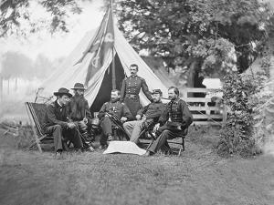 American Civil War Generals and Officers Sitting around their Encampment by Stocktrek Images