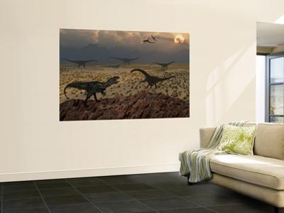 An Allosaurus Dinosaur Spies a Group of Young Diplodocus Herbivores