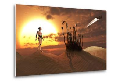 An Android Harvesting a Rare Plant on a Desert Alien World by Stocktrek Images