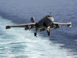 An EA-6B Prowler Lands Aboard the Aircraft Carrier USS John C. Stennis by Stocktrek Images