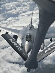 An F-16 from Colorado Air National Guard Refuels from a U.S. Air Force Kc-135 Stratotanker by Stocktrek Images