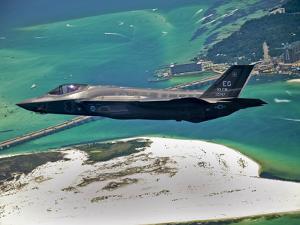 An F-35 Lightning II Flies Over Destin, Florida by Stocktrek Images