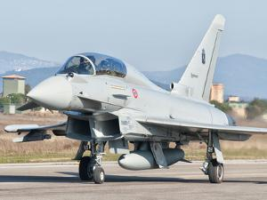 An Italian Air Force Eurofighter Typhoon at Grosseto Air Base, Italy by Stocktrek Images