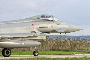 An Italian Air Force F-2000 Typhoon at Trapani Air Base, Italy by Stocktrek Images