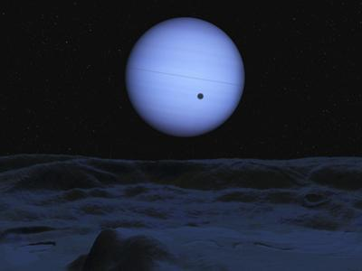 Artist' Concept of Neptune as Seen from its Largest Moon Triton