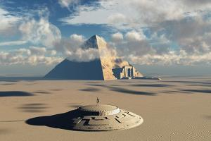 Artist's Concept Illustrating How Aliens Helped to Build Ancient Egyptian Monuments by Stocktrek Images