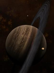 Artist's Concept of a Ringed Gas Giant and its Moons by Stocktrek Images