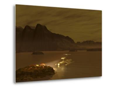 Artist's Concept of a Robotic Probe Exploring a Frigid Ethane Lake on Titan by Stocktrek Images