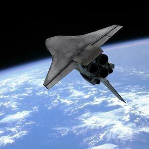 Artist's Concept of a Space Shuttle Entering Earth Orbit by Stocktrek Images