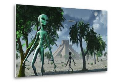 Artist's Concept of Aliens Helping the Mayans Build Complex Buildings by Stocktrek Images