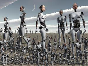 Artist's Concept of an Abundance of Androids with Artificial Intelligence by Stocktrek Images