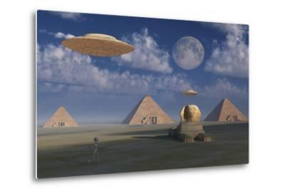 Artist's Concept of Grey Aliens Helping the Egyptians Build the Pyramids by Stocktrek Images