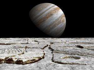 Artist's Concept of Jupiter as Seen across the Icy Surface of its Moon Europa by Stocktrek Images