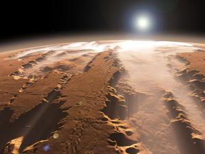 Artist's Concept of the Valles Marineris Canyons on Mars by Stocktrek Images