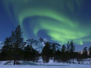 Aurora Borealis Over Nova Mountain Wilderness, Troms, Norway by Stocktrek Images