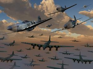 B-17 Flying Fortress Bombers and P-51 Mustangs in Flight by Stocktrek Images