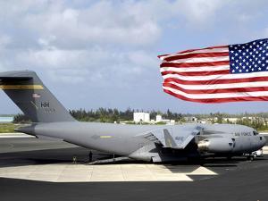 C-17 Globemaster III Sits on the Flightline at Wake Island by Stocktrek Images
