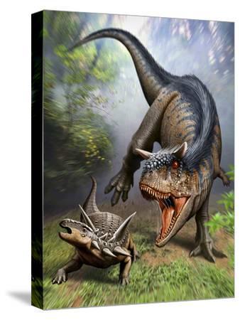 Carnotaurus Attacking an Antarctopelta Armored Dinosaur