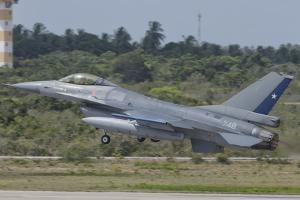 Chilean Air Force F-16 Taking Off from Natal Air Force Base, Brazil by Stocktrek Images