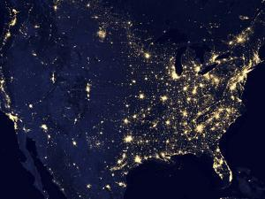 City Lights of the United States at Night by Stocktrek Images