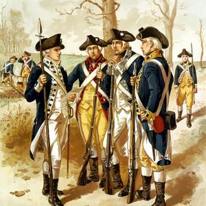 Digitally Restored Vector Painting of the Continental Army During the Revolutionary War by Stocktrek Images