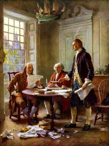 Digitally Restored Vector Painting of the Writing of the Declaration of Independence by Stocktrek Images