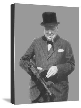 Digitally Restored Vector Photo of Sir Winston Churchill with a Tommy Gun