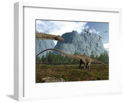 Diplodocus Dinosaurs Graze While Pterodactyls Fly Overhead