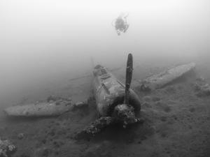 Diver Explores the Wreck of a Mitsubishi Zero Fighter Plane by Stocktrek Images