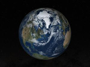 Earth with Clouds And Sea Ice from September 15, 2008 by Stocktrek Images