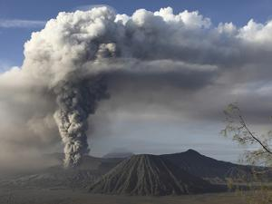 Eruption of Ash Cloud from Mount Bromo Volcano, Tengger Caldera, Java, Indonesia by Stocktrek Images